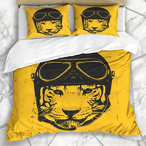 (Ahawoso Duvet Cover Sets Queen/Full 90x90 Cool Aviator Tiger Vintage Helmet Face Character Cute Funny Pilot Hat Head Microfiber Bedding with 2 Pillow Shams)