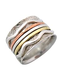 """Energy Stone """"MOVEMENT"""" Tri Color 5-Spinners Etched Leaf and Floral Pattern Meditation Spinner Ring (Style#SR32)"""