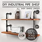 Diwhy Industrial Vintage Wrought Iron Pipe 2-Tier Metal Bathroom Shelf Para Bathroom Shelf 2 Level Rustic Industrial DIY Pipe Shelf Storage Wooden Bookshelf Vintage (61CM)