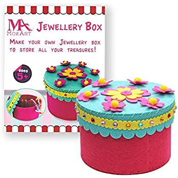 Jewelry Box Sewing Pattern Kit for Kids - Starter kit with all parts and accessories included - Felt Fabrics Supplies - Sewing Project Set - Educational Fun