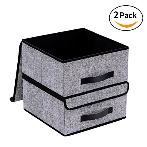 Onlyeasy Foldable Storage Bins Cubes Boxes with Lid - Storage Box Cube Basket Closet Organizer Pack of Two with Leather Handles for Closet Bedroom, 12.6