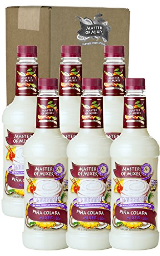 Master of Mixes Pina Colada Drink Mix, Ready To Use, 1 Liter Bottle (33.8 Fl Oz), Pack of 6