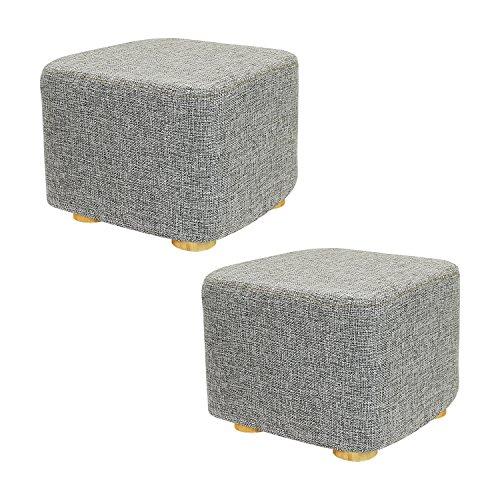 Met Life   2 Piece Square Ottoman Foot Stool  4 Leg Stands  Short Leg  Square Shape   Linen Fabric  Gray