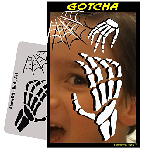 Halloween Face Painting Stencil - StencilEyes Profile Gotcha (Halloween Face Painting Designs Scary)