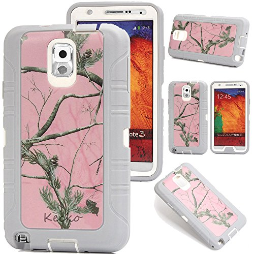 Kecko®3-layer Pink Tree Camo  Shock-absorbing Impact Resitant Military Duty Full Body Protective Tough Rugged Case w/ Built-in Screen Protector for Samsung Galaxy Note 3 N9000 (P-Gray)