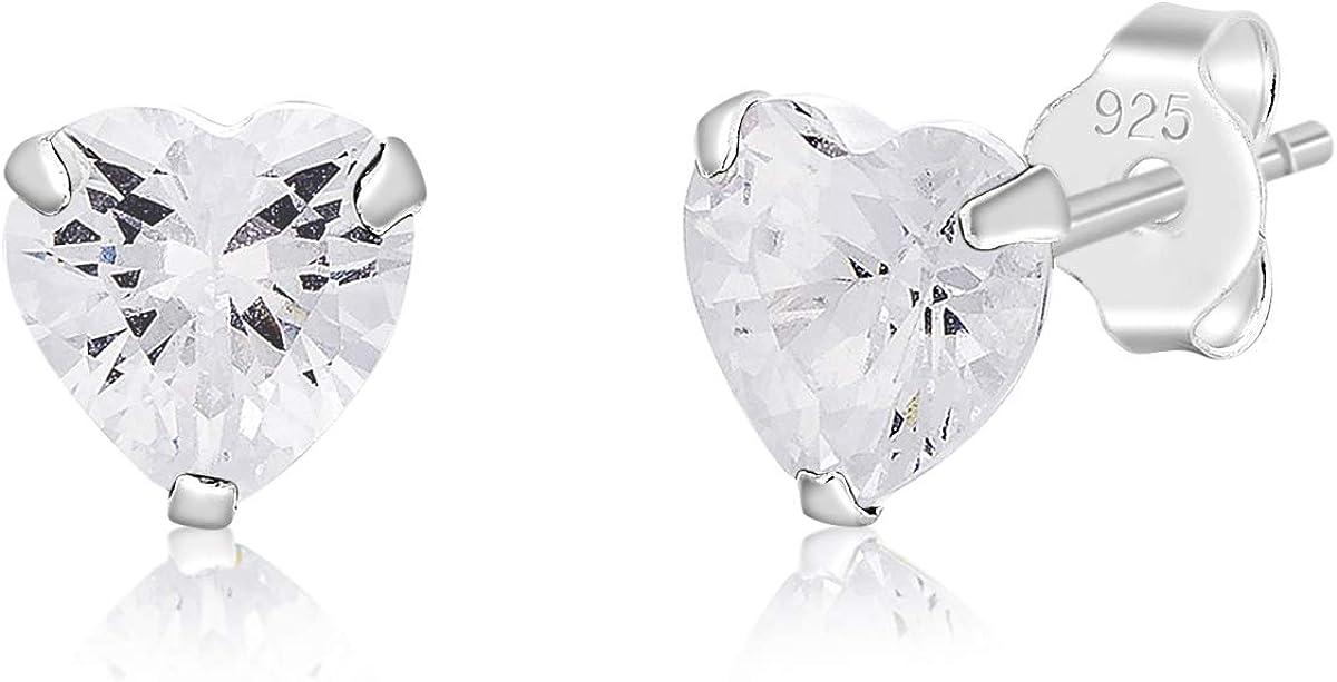 DTP Silver – Pendientes Semental - Plata 925 con Cristal Austríaco en forma de Corazón - Diámetro: 5 mm- Colores diferentes