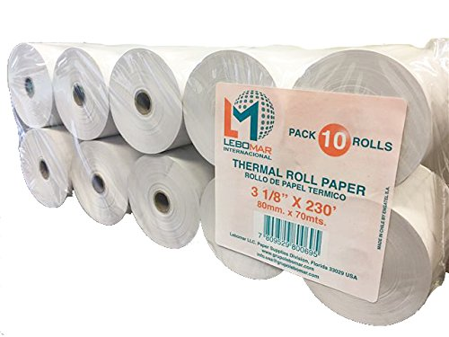 - LEBOMAR INTERNATIONAL Thermal Paper Rolls 3-1/8 x 230ft (Box of 10 Rolls Sealed Pack) For POS receipts Printers & Cash Register White - # 1 Voted by Manufacturers and Retailers in ALL AMERICA