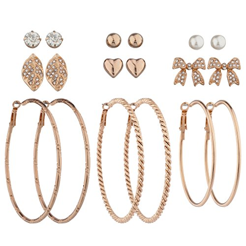 Lux Accessories Rose Gold Tone Textured Hoop Rhinestone Bow Heart Earring Set