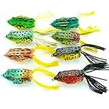 #6: Aorace 8pcs Lifelike Topwater Frog Fishing Lure Crankbait Hooks Bass Soft Lure Bait Tackle 2.4