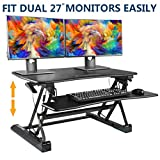 SITA-OFFICE Standing Desk Height Adjustable Sit Stand Up Desk Riser Stand Fits Dual Monitors Adjustable Standing Desk Converter Topper Black 36'' x 31''