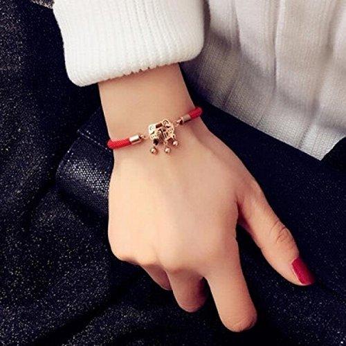 (2018 Chinese Bracelet Bangle Korean Women Girls red String Tassel Hyacinth Tide Rose Gold Coins Steel Fashion icon Personalized Birth Year Gift (Steel Longevity Lock)