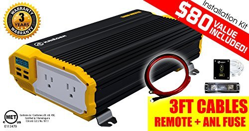 KRIËGER KR1500 1500 Watt 12V Dual Power Inverter with Installation kit. MET approved to UL and CSA standards. by KRIEGER