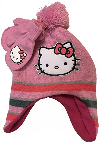 Fourever Funky Hello Kitty Little Girls Toddler Winter Hat and Mitten Set Pink ()