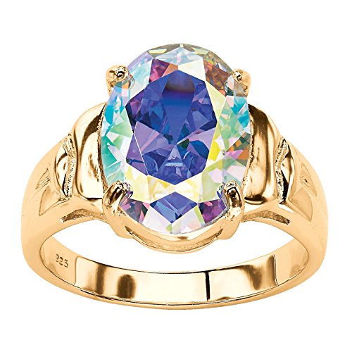 Palm Beach Jewelry Oval Aurora Borealis Cubic Zirconia 14k Gold-Plated Cocktail Ring Size (Palm Womens Ring)