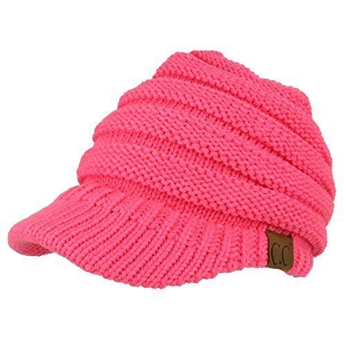 Trendy Apparel Shop Women's Ribbed Knit Winter Ponytail Visor Beanie Cap - Candy Pink