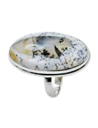 Fascinating Large Sterling Silver Rare Dendritic Opal Ring, Size 9