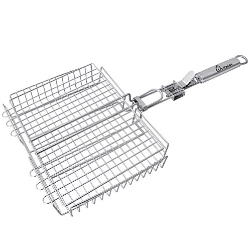 WolfWise Portable 430 Stainless Steel Barbecue BBQ Grilling Basket Removable Handle