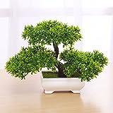Situmi Artificial Fake Flowers PlasticGreen PlantsBonsaiTreeDesktopdecor,Green28X18cm