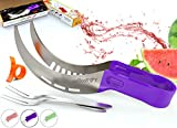 Vellostar Watermelon Slicer Corer Cutter Tongs and Server Set, with ss304 Serving Fork & Orange Peeler, Kitchen-Grade 304 Stainless Steel, Ergonomic Handle, Watermelon Knife, Purple