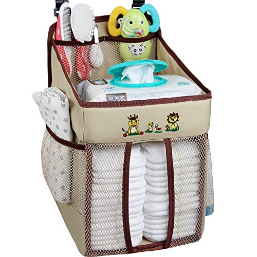 Hanging Diaper Caddy – Diaper Holder Organizer Hanging – Storage for Baby Nursery – Hang on Crib, Changing Table, Playard or Furniture – Giraffe Brown – 17x9x9 inches