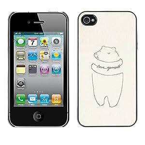 rígido protector delgado Shell Prima Delgada Casa Carcasa Funda Case Bandera Cover Armor para Apple Iphone 4 / 4S /Yourself Motivational Drawing/ STRONG