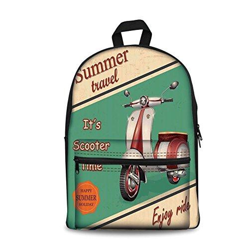 Design the fashion fo Kids Back to School Backpack, Canvas Book Bag,Vintage Decor,Scooter Motorbike Summer Travel Italian City Sight Hipster Enjoy Ride Illustration,Multi.
