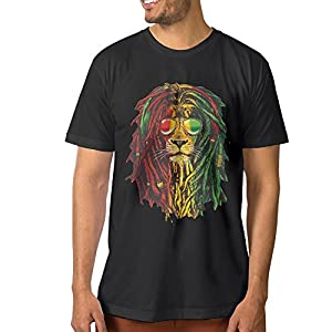 Fashion Men's Lion Rasta Hair T-shirts Black Size 3X