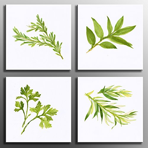 Artwork Set (Canvas Painting Print Wall Art 4 Panels Simply Life Green Plant Leaf Modern Contemporary Painting on Canvas Set Prints Framed Nature Abstract Art Pictures for Living Room  Wall Artwork  Decorations)