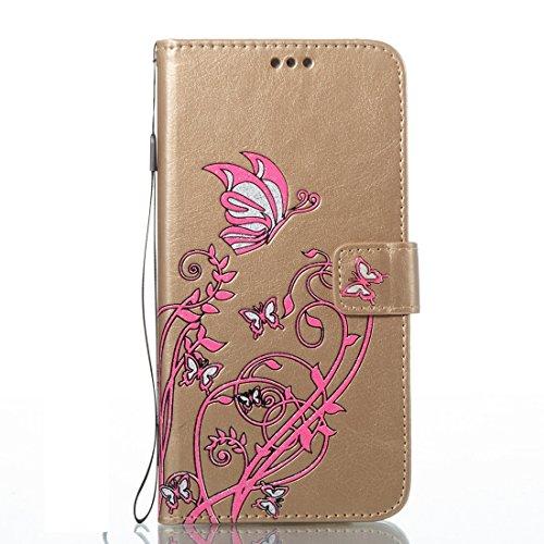 MXNET IPhone 7 Plus Fall, Spannung Crazy Pferd Textur Horizontale Flip Leder Tasche mit Halter & Card Slots & Wallet & Lanyard CASE FÜR IPHONE 7 PLUS ( Color : Gold )