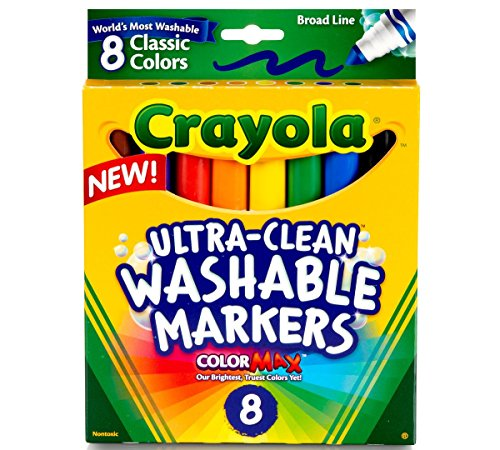 Crayola Broad Line Washable Markers, 8 Markers, Classic Colors Pack of 10 -