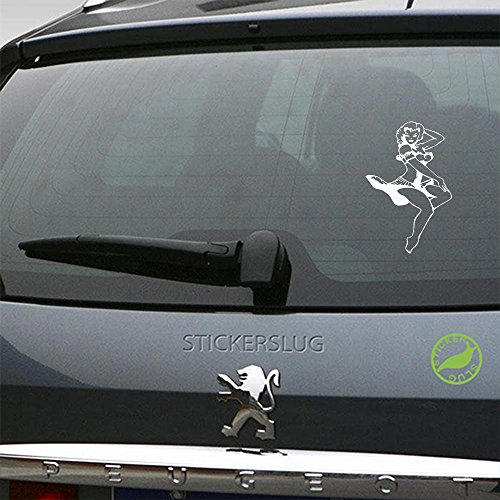 Stickerslug Navy Pin-Up Girl Decal (Gloss White, 8 inch) for car Truck Window SUV Boat Motorcycle and All Other auto Glass and Bumper in Gloss Vinyl]()