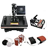 ZENY Heat Press Pro 6in1 Combo Heat Press Machine Digital Multifunction Transfer Sublimation - T-Shirt /Mug /Hat /Plate 15'' x 12'', black (#01)