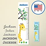 321Done Personalized Hanging Growth Chart, Giraffe and Tree, Kids Height Ruler, Premium Vinyl Nursery Wall Decor Jungle Safari White