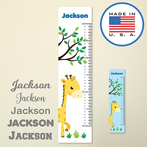 321Done Personalized Hanging Growth Chart, Giraffe and Tree, Kids Height Ruler, Premium Vinyl Nursery Wall Decor Jungle Safari White by 321Done