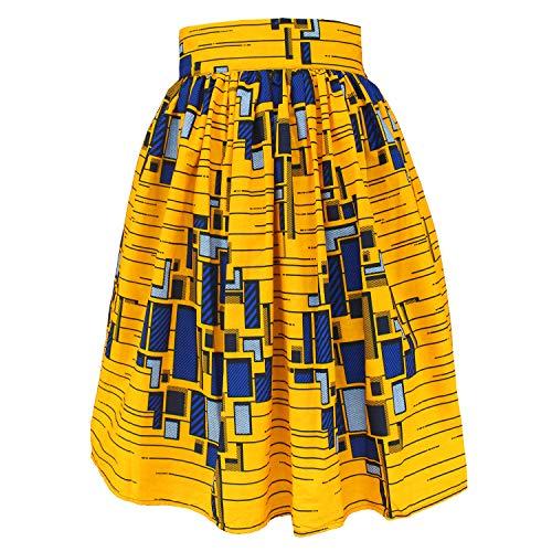 (FANS FACE Women's African Print High Waist Pleated Knee-Length Skirt A-Line Skirts with Pockets XL Yellow )