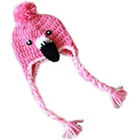 Kids Winter Flamingo Knitted Beanie Hat Ball Pom Pom Earflaps Child Ear Cap Pink