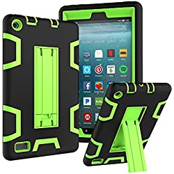Elevin(TM)For Amazon Kindle Fire 7 2017 7th Gen,Dual Layer Hybrid Shockproof Rubber Hard Protective Stand Case Cover (G)