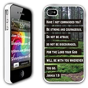 iPhone 4/4s Case - Christian Theme - Joshua 1:9 - White Protective Hard Case Kimberly Kurzendoerfer