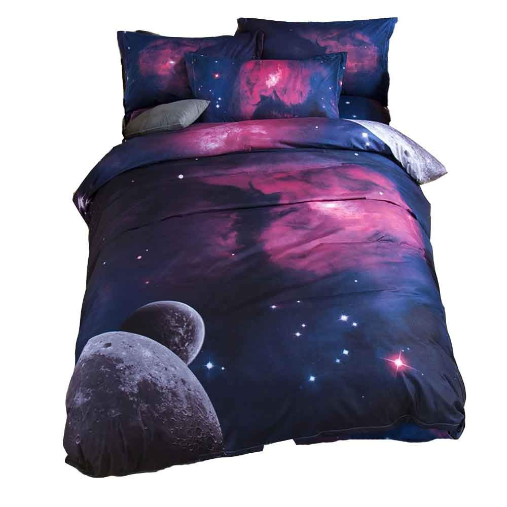 YOMIMAX 3D Mysterious Boundless Galaxy Red Sky Starry Night Bedding Sets Bedlinen Duvet/Quilt Cover Set Full
