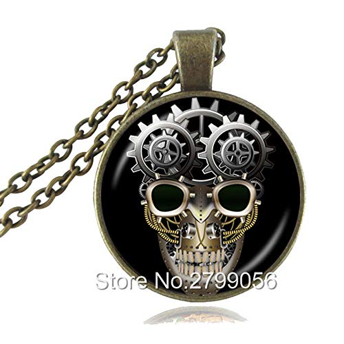 - Day of The Dead Sugar Skull Necklace Skeleton Head Photo Pendant Tattoo Gothic Flower Jewelry Glass Dome Gothic Accessories