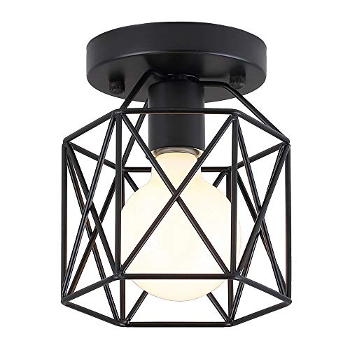 KOONTING Retro Vintage Industrial Flush Mount Ceiling Light, Mini Painting Metal Pendant Light Ceiling Light Fixture for Hallway Stairway Bedroom Kitchen, Black.