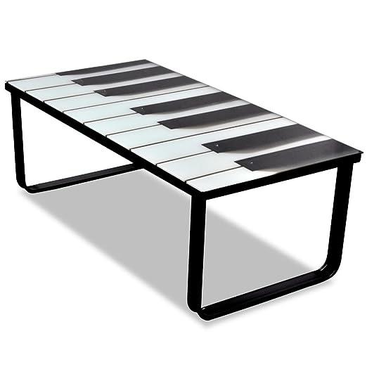 SENLUOWX Mesa de centro de cristal con impresión de piano: Amazon ...