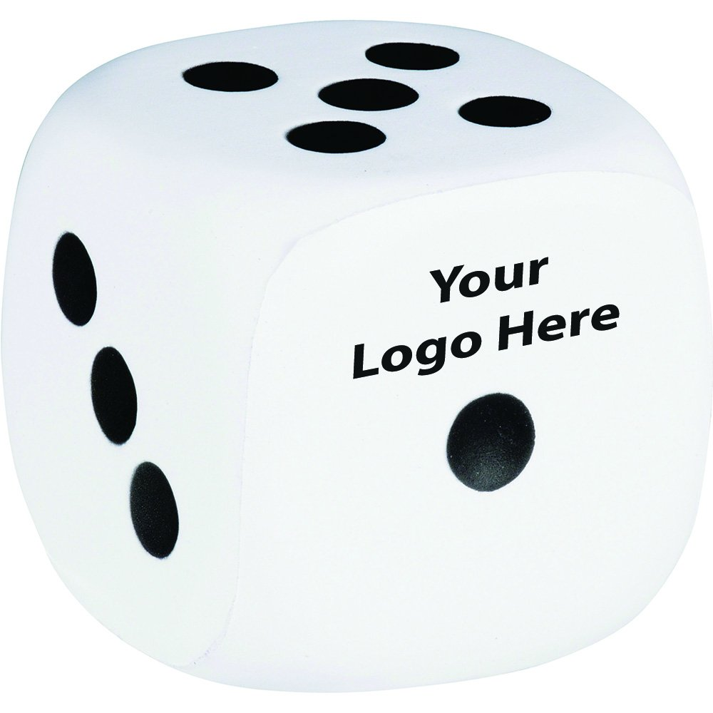 Dice Stress Reliever - 225 Quantity - $1.50 Each - PROMOTIONAL PRODUCT / BULK / BRANDED with YOUR LOGO / CUSTOMIZED