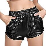 TAKIYA Women's Shiny Metallic Shorts Loose Yoga Hot Pants with Pockets (US L/Asian Tag XL, Black)