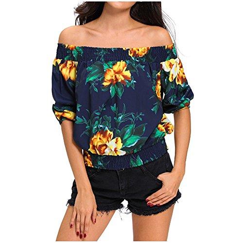 Hilinker Women's Smocked Off The Shoulder Top Floral 3/4 Sleeve Strapless Blouse Shirt (Medium, Dark (Smocked Shoulder)