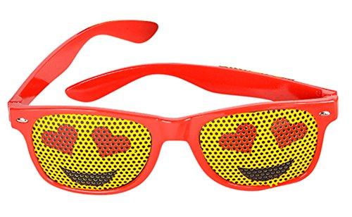 Red Framed Heart Eyes Emoticon Emoji Novelty Glasses Costume (Red Dress Lady Emoji Costume)