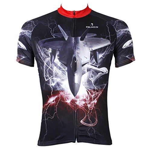 PaladinSport Men's F22 Pattern Short Sleeve Cycling Jersey Asia Size XL Black