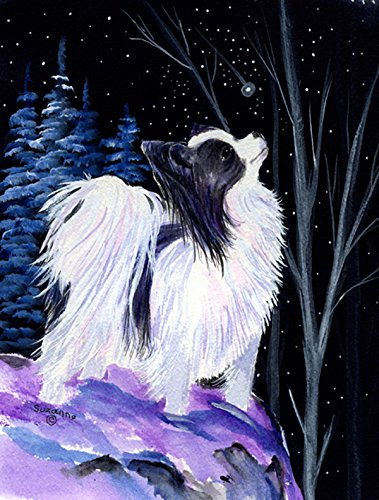 Caroline's Treasures SS8383CHF Starry Night Papillon Flag Canvas, Large, Multicolor For Sale