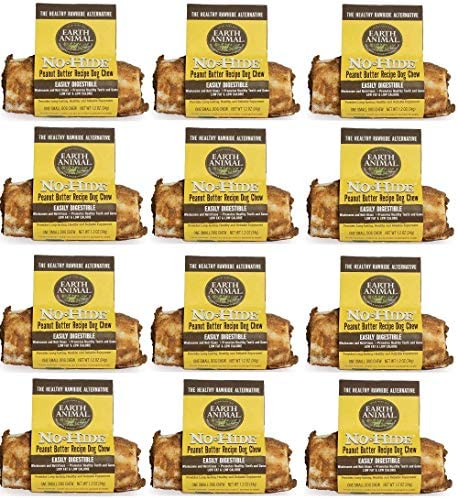 Earth Animal 12 Pack of No-Hide Peanut Butter Dog Chews, Small, Vegetarian Rawhide Alternative