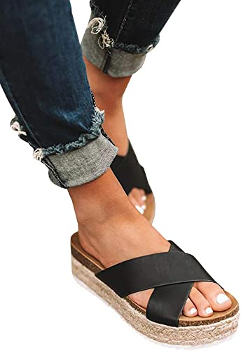 JAGENIE Summer Soft Women Wedge Sandals Thong Flip Flops Flat Platform Slippers Beach Black 36